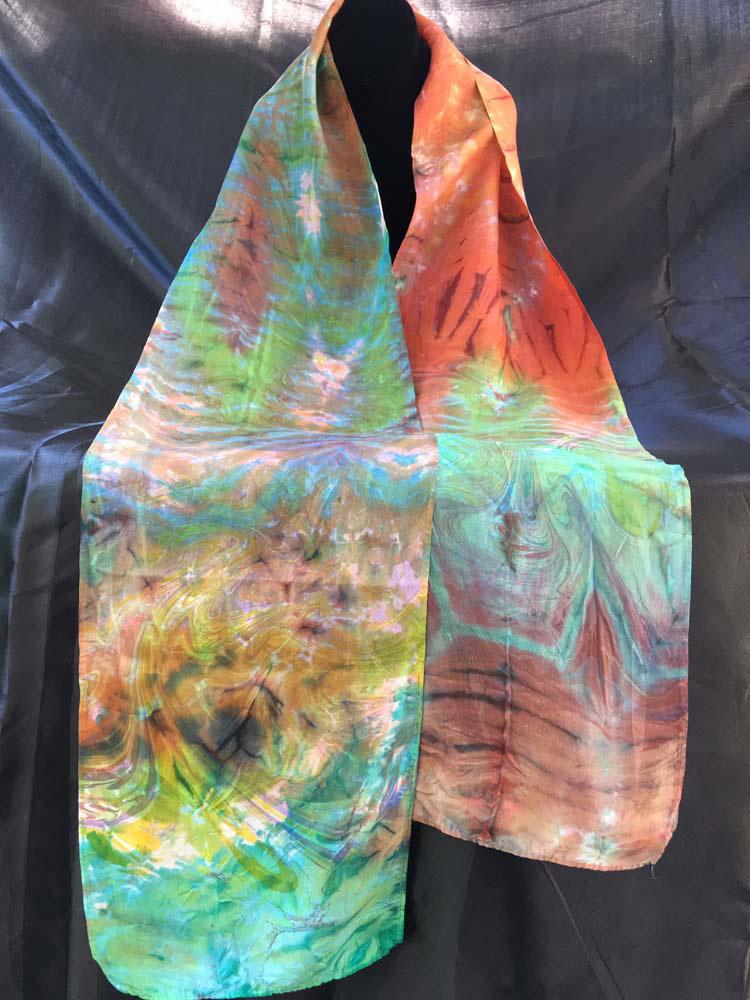 "#EAS-105 Hobotai Silk Colorful Swirl Marbleized Shibori 8"" x 72"" $80.00"