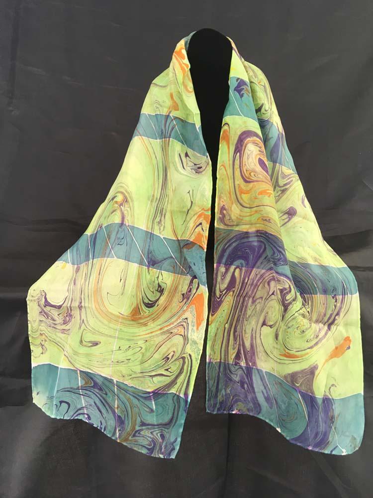 "#EAS-108 Hobotai Silk Marbleized Resist Green Stripes 11"" x 64"" $110.00"