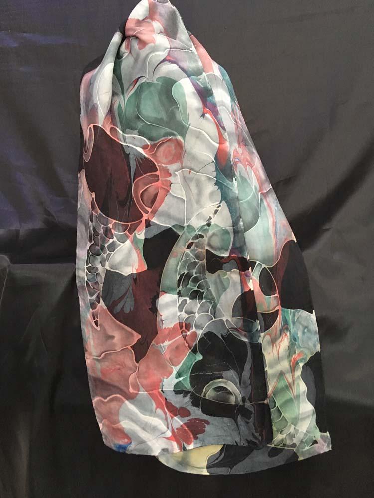 """#EAS-1161 Hobotai Silk Marbleized Resist Koi in  Black 11"""" X 64"""" $110.00"""