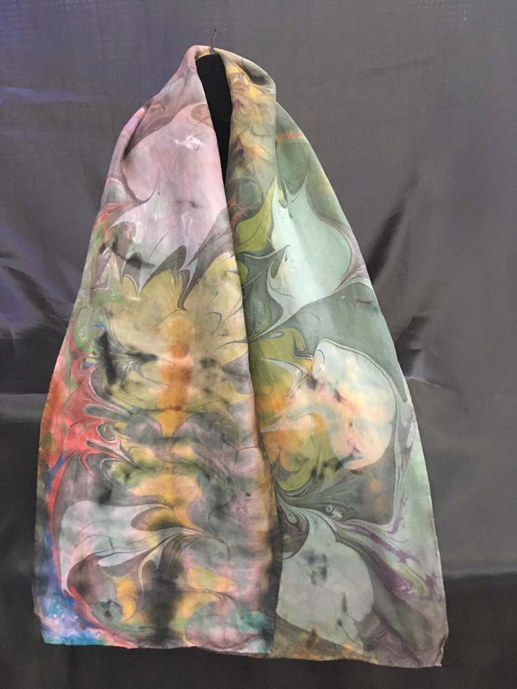 "#EAS-1162 Hobotai Silk Marbleized Shibori  Shades of Color 11: X 64"" $80.00"