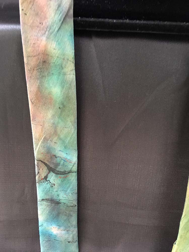 "#EAT-1118 Chameuse Silk Marbleized Shibori Iridescent Multi-Color 2"" x 60"" $45.00"